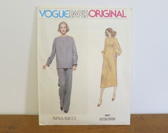 Vintage Vogue Paris Original Nina Ricci dress or tunic and pants sewing pattern 1967. Uncut, Size 12.