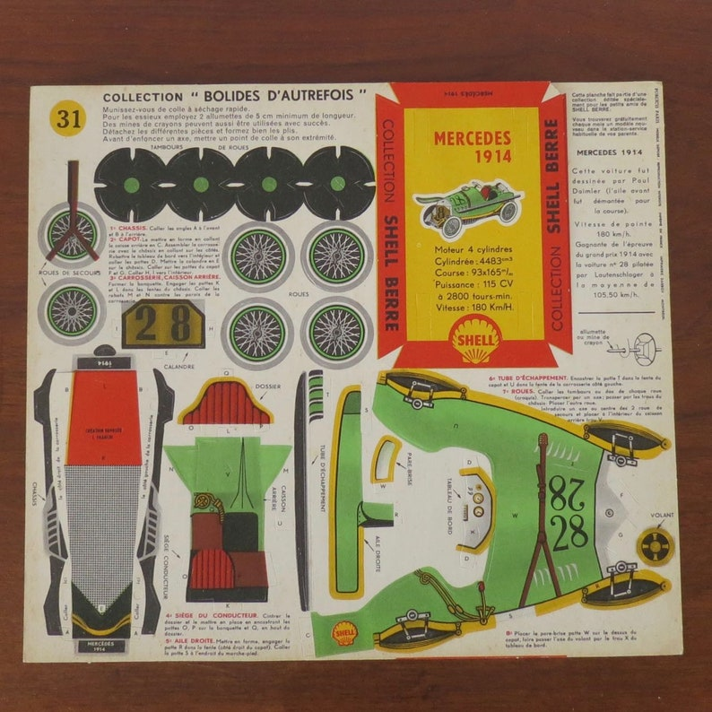 1950s Shell garage paper craft toy car kit, made in France  Mercedes 1914   Collection Bolides d'autrefois