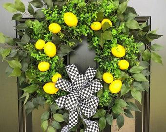 BEST SELLER WREATH, Lemon Wreath, Spring Wreath for Front Door, Summer Wreath, Fruit Wreath, Citrus Wreath, Farmhouse Wreath, Grapevine
