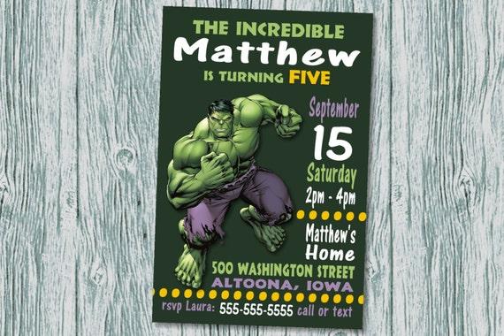 Custom Hulk Birthday Party Invitation Print At Home Digital Etsy