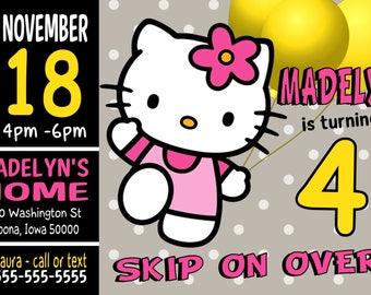 Custom Hello Kitty Birthday Party Invitation Print at Home Digital File