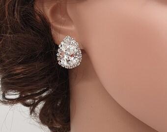 Crystal Drop Earrings, Pear studs, Studs Earrings, Swarovski earrings, white earrings, crystal pear shape, opal drop earrings, SOFIA