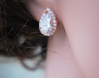 Bridal Crystal Drop Earrings, Pear Cubic Zirconia, CZ Studs Earrings, rose gold earrings, rose gold earrings, crystal pear shape JAIMEE