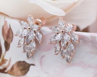 Small stud earrings, rose gold earrings, Bridal Crystal Stud Earrings, Cubic Zirconia, CZ Studs Earrings, crystal earrings, earrings, RENEE