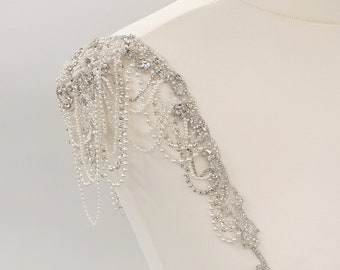 Bridal straps, pearl straps, wedding dress, Beaded shoulders, beaded straps, bridal accessories, Bridal Epaulettes, Wedding straps, MAGGIE