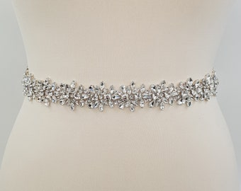 Bridal belt, bridal sash,  Diamante belt, crystal belt, rhinestone belt, All around belt, beaded belt, wedding belt, wedding belt, MAEVE