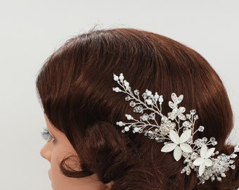 Wedding hair piece, Bridal headpiece, designer headpiece, bridal comb, wedding comb, bridal hair accessories, matte headpiece, GEMMA