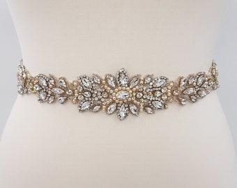 Gold bridal belt, Rose Gold bridal belt, bridal belt, Wedding dress belt, rose bridal belt, wedding belt, beaded belt, all around belt JANET