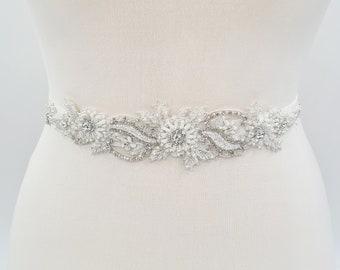 Beaded bridal sash, Ivory bridal applique, bridal belt, bridal belts and sashes, bridal embellishment, bridal sash belt, elastic belt ALBIA
