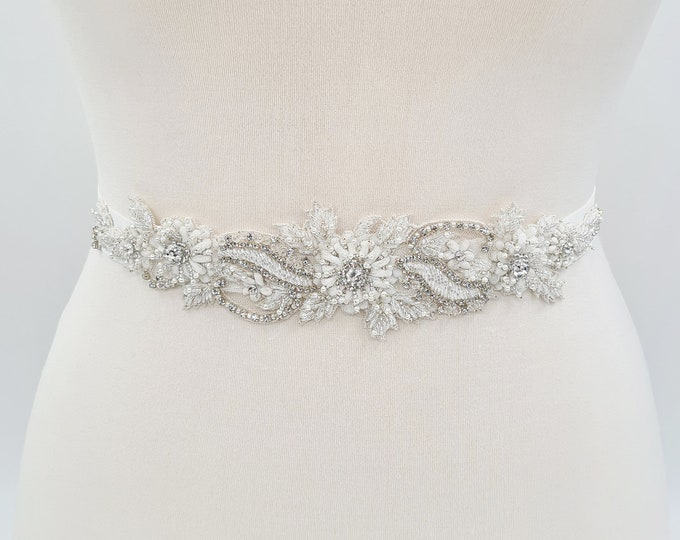 Featured listing image: Beaded bridal sash, Ivory bridal applique, bridal belt, bridal belts and sashes, bridal embellishment, bridal sash belt, elastic belt ALBIA
