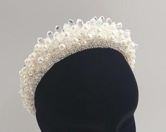 Pearl headband, pearl tiara, statement headband, big pearl headband, pearl headpiece, 2020 bridal trends, big bold headband, OPHELIA