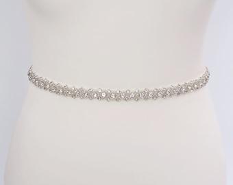 Thin rhinestone belt, wedding dress belt, diamante belt, thin wedding belt, bridal belt, wedding belt, skinny belt, all around belt, RILEY