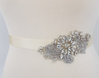 Bridal sash, Silver bridal belt, bridal belt, side belt, hand beaded belt, wedding belt, luxury bridal sash, rhinestone belt, HELENA