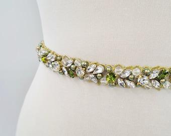 Green bridal belt, green pearl belt, bridal belt, peridot green bridal, moss green belt, thin bridal belt, gold wedding belt, JOLINA