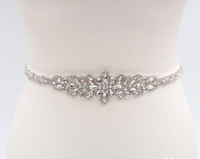 Featured listing image: Bridal belt, bridal sash, rhinestone belt, All around, Art deco, beaded belt, Diamante belt, crystal belt, wedding belt, Thin belt MARIA