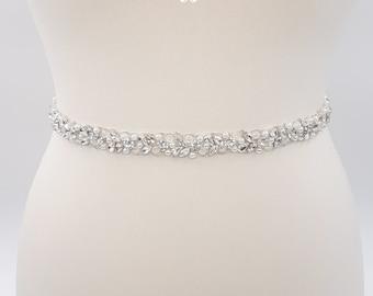 White pearl belt, pearl bridal belt, pearl belt, Bridal belt, thin bridal belt, bridal sash, wedding sash, wedding belt, white pearls, JOLIE