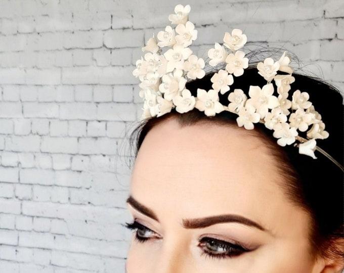 Featured listing image: Flower crown, floral crown, bridal headpiece, bridal flower crown, flower halo, wedding tiara, wedding headband, bohemian wedding, FAYRE