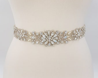 All around belt, Bridal belt, rhinestone belt, wedding belt, bridal sash, wedding dress belt, bridal sash belt, beaded bridal sash, LAURA