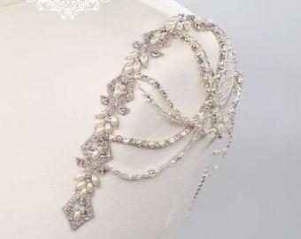 Bridal straps, shoulder straps, Bridal Epaulettes, Shoulder Applique, Beaded shoulders, pearl draped, bridal applique, epaulettes, GEORGIANA