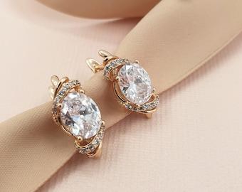 Small earrings, crystal earrings, gold earrings, Bridal CZ Earrings, Bridal earrings, bridesmaid jewelry, zircon earrings, gold cz, THALIA