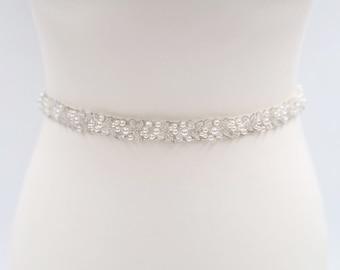 Pearl bridal belt, pearl belt, Bridal belt, beaded belt, thin bridal belt, thin pearl sash, bridal sash, wedding sash, wedding belt, PAISLEY