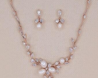 Rose gold bridal set, rose gold jewelry, rose gold pearl, Pearl bridal set, bridal jewelry set, cz bridal set, freshwater pearl, ZARA