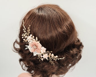 Gold blush comb, coral headpiece, blush pearl comb, gold bridal comb, Bridal hair comb, Bridal headpiece, wedding headpiece THELMA