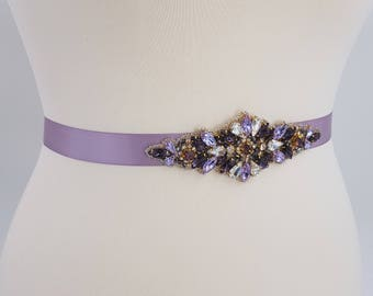 Purple bridal belt, Amethyst belt, purple bridal sash, bridal belt, purple gold sash, purple wedding sash, lilac sash, wedding sash, DONNA