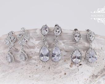 Drop zircon earrings, Teardrop earrings, Bridal earrings, Pear dangle studs, Wedding earrings, crystal earrings, Bridesmaids gift, zirconia
