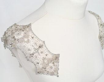 Wedding dress straps, detachable straps, wide crystal straps, Bridal straps, Beaded shoulders, off the shoulder, beaded straps, MARTHA