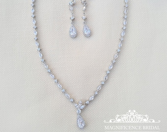 Bridal jewelry, cz bridal set, zircon necklace, bridal set, cubic zirconia, jewelry set, cz necklace set, bridal jewelry set, cz set, SERENA