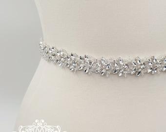 Bridal belt, crystal belt, Thin wedding belt, wedding belt, beaded belt, thin bridal belt, bridal sash, wedding sash, diamante belt, ALLISON