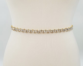 Thin gold belt, gold belt, Diamante belt, thin rhinestone belt, gold bridal belt, thin wedding belt, bridal belt, wedding belt, BELLA