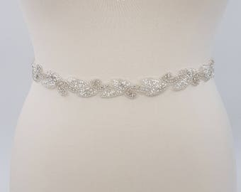 Thin bridal belt, bridal belt, white bridal, beaded sash belt, thin bridal sash, leaf bridal belt, thin wedding belt, waist belt, EMILY