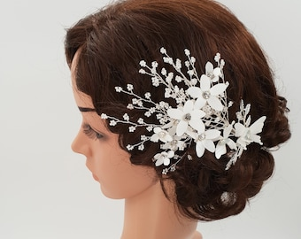 Wedding hair piece, wedding headpiece, bohemian wedding, Bridal headpiece, bridal hair piece, bridal hair comb, Bridal hair comb, SHELLY