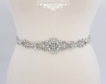 All around belt, Thin bridal belt, wedding belt, bridal sash, thin wedding belt, bridal belt, wedding dress belt, beaded bridal sash, GRACE