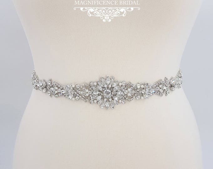 Featured listing image: All around belt, Thin bridal belt, wedding belt, bridal sash, thin wedding belt, bridal belt, wedding dress belt, beaded bridal sash, GRACE