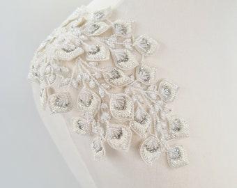 Ivory epaulettes, lace epaulettes, bridal straps, bridal epaulettes, beaded epaulettes, shoulder embroidery, bridal lace straps, MARCELLE