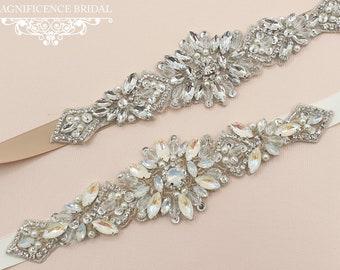 Bridal sash belt, Opal bridal belt, bridal belt, opal sash, bridal sash, rhinestone belt, Art deco, beaded belt, opal wedding belt, FIA