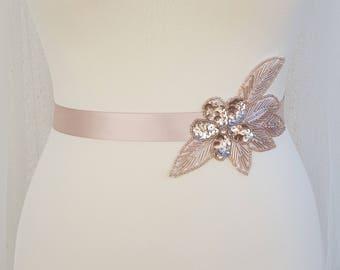 Rose gold belt, blush bridal belt, Bridesmaid belt, rose gold sash, bridal belt and sash, embellish belt, bridal belt, wedding belt, AMY
