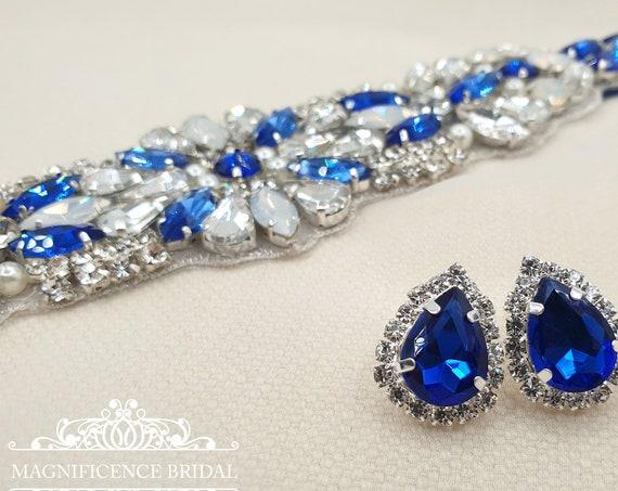 Blue earrings, bridal earrings, blue bridesmaids gift, blue stud earring, blue studs, royal blue, blue drop studs, something blue, SOFIA