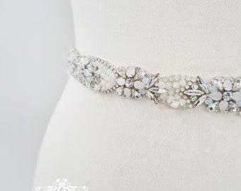 Opal sash belt, Bridal belt, bridal sash, diamante belt, crystal belt, rhinestone belt, All around belt, beaded belt, wedding belt, SHANNON