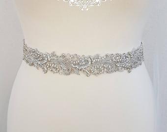 Bridal belt, silver wedding belt, wedding dress belt, embellished belt, wedding belt, sparkly belt, bridal sash, rhinestone belt, LINDA