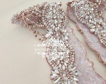 Wedding dress straps, Bridal straps, crystal straps, rose gold straps, gold straps, shoulder straps, Epaulettes, bridal gold straps, CELESTE