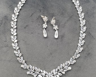 Bridal jewelry, cz bridal set, zircon necklace, bridal set, cubic zirconia, jewelry set, cz necklace set, bridal jewelry set, cz set, SELINA