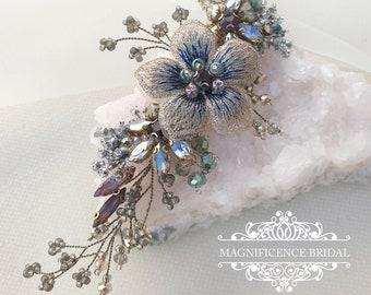Multi colour hair clip, Vintage hair comb, Vintage gold bridal, Gold bridal comb, gold hair comb, gold wedding comb, bridal hair comb AURA