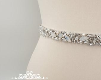 Bridal belt, opal belt, wedding belt, bridal sash, rhinestone belt, wedding dress belt, sparkly belt, bridal sashes and belts, MONA
