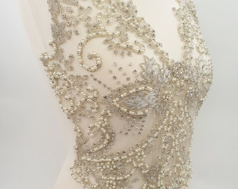 Beaded embroidery, dress embroidery, wedding dress top, dress top applique, large bridal applique, large embroidery, embroidery, SHERRI
