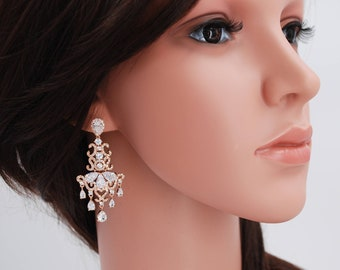 Bridal earrings, rose gold bridal earrings,  Rose Gold Earrings, chandelier earrings, rose gold wedding, cz rose gold earrings, ALEXANDRA