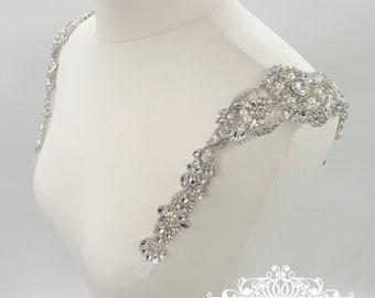 Crystal straps, wedding dress, Beaded shoulders, beaded belt, beaded straps, bridal accessories, Bridal Epaulettes, dress straps, ABBIE